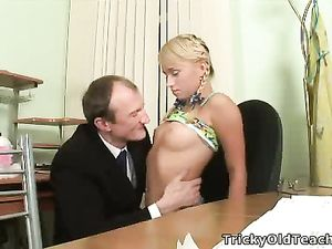 Perky Young Tits Sucked By A Dirty Old Man