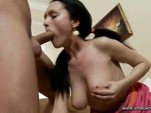 Tit Fondling Chick Gives A Deepthroat Blowjob