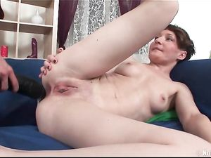 Lesbians Poking Tight Holes With Gigantic Toys