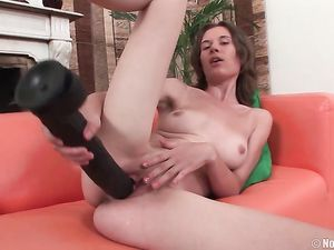 Monster Dildo Somehow Fits Into Her Young Pussy