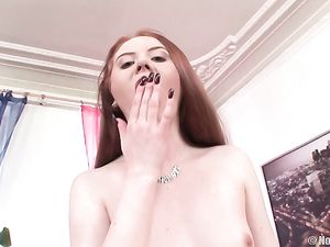 Redhead In Seamed Stockings Gangbanged And DPed