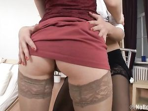 Slutty Teens In Nylons Have An Anal Threesome