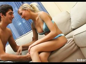Blue Panties On The Cocksucking Teenage Blonde