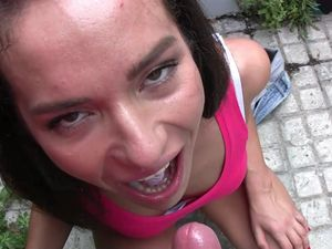 Public Quickie In Panties With A Load In Her Mouth