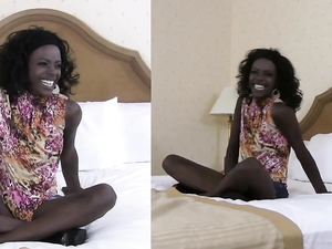 Skinny Ebony Slut In His Hotel Room For Cock