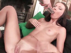 Young Shaved Cunts Share A Double Dildo