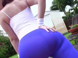 Mesmerizing Big Ass In Purple Tights Turns Him On